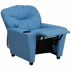 Flash Furniture Contemporary Light Blue Vinyl Kids Recliner with Cup Holder Model BT-7950-KID-LTBLUE-GG