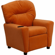 Flash Furniture Contemporary Orange Vinyl Kids Recliner with Cup Holder Model BT-7950-KID-ORANGE-GG