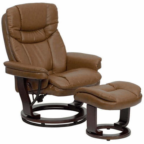 Flash Furniture Contemporary Palimino Leather Recliner and Ottoman with Swiveling Mahogany Wood Base Model BT-7821-PALIMINO-GG