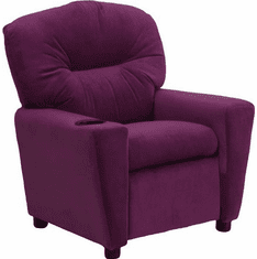 Flash Furniture Contemporary Purple Microfiber Kids Recliner with Cup Holder Model BT-7950-KID-MIC-PUR-GG