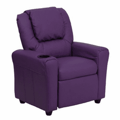 Flash Furniture Contemporary Purple Vinyl Kids Recliner with Cup Holder and Headrest Model DG-ULT-KID-PUR-GG