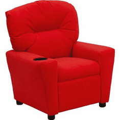 Flash Furniture Contemporary Red Microfiber Kids Recliner with Cup Holder Model BT-7950-KID-MIC-RED-GG