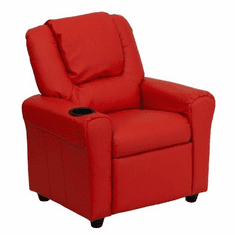 Flash Furniture Contemporary Red Vinyl Kids Recliner with Cup Holder and Headrest Model DG-ULT-KID-RED-GG