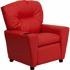 Flash Furniture Contemporary Red Vinyl Kids Recliner with Cup Holder Model BT-7950-KID-RED-GG