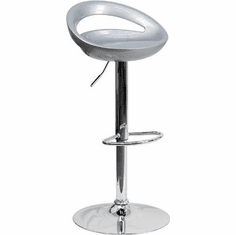 Flash Furniture Contemporary Silver Plastic Adjustable Height Bar Stool with Chrome Base, Model CH-TC3-1062-SIL-GG