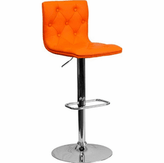 Flash Furniture Contemporary Tufted Orange Vinyl Adjustable Height Bar Stool with Chrome Base, Model CH-112080-ORG-GG