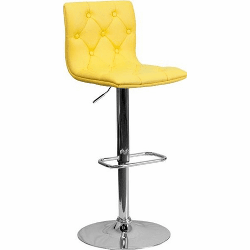 Flash Furniture Contemporary Tufted Yellow Vinyl Adjustable Height Bar Stool with Chrome Base, Model CH-112080-YEL-GG