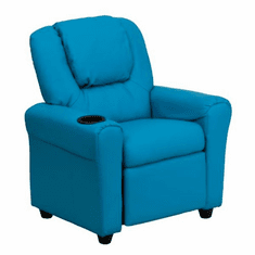 Flash Furniture Contemporary Turquoise Vinyl Kids Recliner with Cup Holder and Headrest Model DG-ULT-KID-TURQ-GG