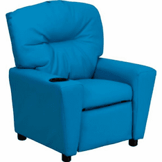 Flash Furniture Contemporary Turquoise Vinyl Kids Recliner with Cup Holder Model BT-7950-KID-TURQ-GG