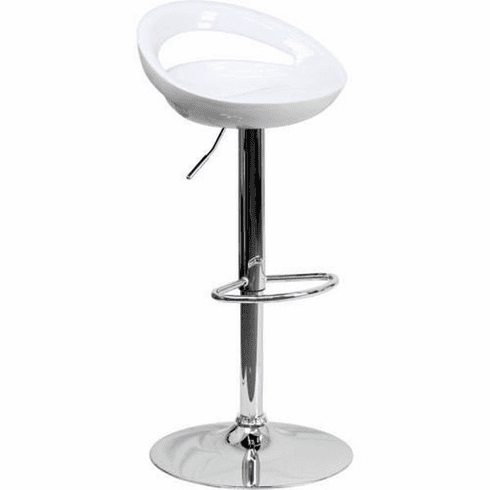 Flash Furniture Contemporary White Plastic Adjustable Height Bar Stool with Chrome Base, Model CH-TC3-1062-WH-GG
