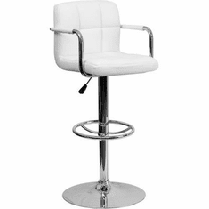 Flash Furniture Contemporary White Quilted Vinyl Adjustable Height Bar Stool with Chrome Base Model CH-102029-WH-GG