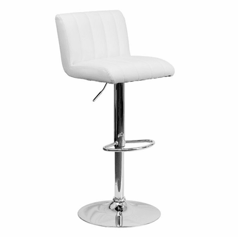 Flash Furniture Contemporary White Vinyl Adjustable Height Bar Stool with Chrome Base, Model CH-112010-WH-GG