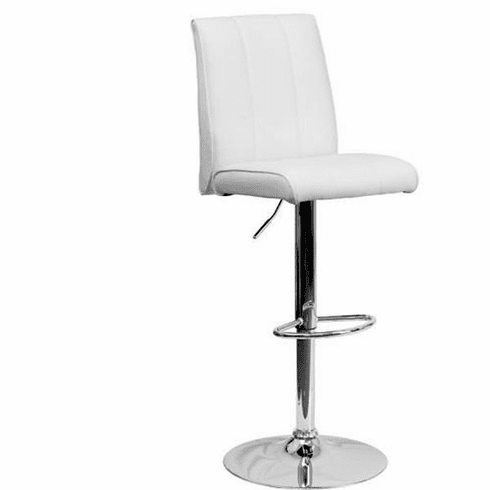 Flash Furniture Contemporary White Vinyl Adjustable Height Bar Stool with Chrome Base, Model CH-122090-WH-GG