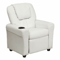 Flash Furniture Contemporary White Vinyl Kids Recliner with Cup Holder and Headrest Model DG-ULT-KID-WHITE-GG