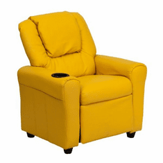 Flash Furniture Contemporary Yellow Vinyl Kids Recliner with Cup Holder and Headrest Model DG-ULT-KID-YEL-GG