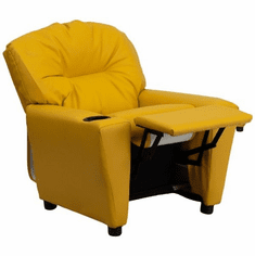 Flash Furniture Contemporary Yellow Vinyl Kids Recliner with Cup Holder Model BT-7950-KID-YEL-GG
