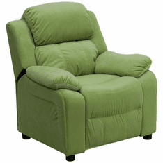 Flash Furniture Deluxe Heavily Padded Contemporary Avocado Microfiber Kids Recliner with Storage Arms Model BT-7985-KID-MIC-AVO-GG