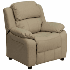 Flash Furniture Deluxe Heavily Padded Contemporary Beige Vinyl Kids Recliner with Storage Arms Model BT-7985-KID-BGE-GG