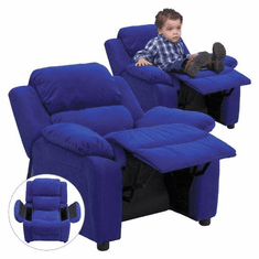 Flash Furniture Deluxe Heavily Padded Contemporary Blue Microfiber Kids Recliner with Storage Arms Model BT-7985-KID-MIC-BLUE-GG