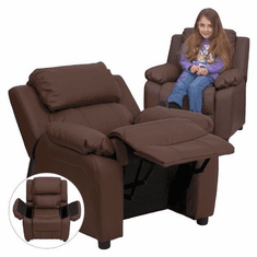 Flash Furniture Deluxe Heavily Padded Contemporary Brown Leather Kids Recliner with Storage Arms Model BT-7985-KID-BRN-LEA-GG