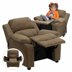 Flash Furniture Deluxe Heavily Padded Contemporary Brown Microfiber Kids Recliner with Storage Arms Model BT-7985-KID-MIC-BRN-GG