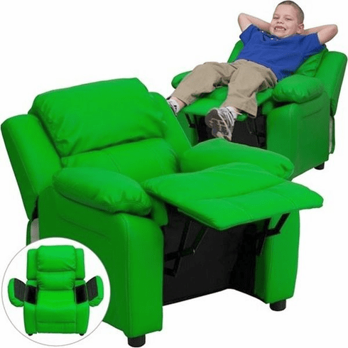 Flash Furniture Deluxe Heavily Padded Contemporary Green Vinyl Kids Recliner with Storage Arms Model BT-7985-KID-GRN-GG
