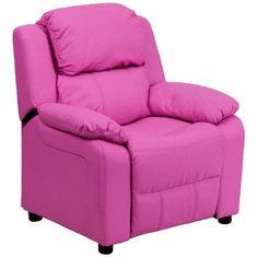 Flash Furniture Deluxe Heavily Padded Contemporary Hot Pink Vinyl Kids Recliner with Storage Arms Model BT-7985-KID-HOT-PINK-GG