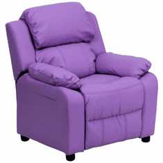 Flash Furniture Deluxe Heavily Padded Contemporary Lavender Vinyl Kids Recliner with Storage Arms Model BT-7985-KID-LAV-GG