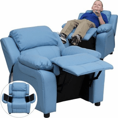Flash Furniture Deluxe Heavily Padded Contemporary Light Blue Vinyl Kids Recliner with Storage Arms Model BT-7985-KID-LTBLUE-GG