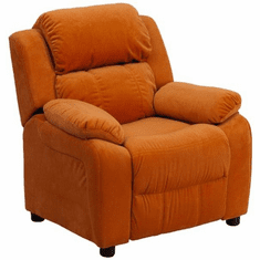 Flash Furniture Deluxe Heavily Padded Contemporary Orange Microfiber Kids Recliner with Storage Arms Model BT-7985-KID-MIC-ORG-GG