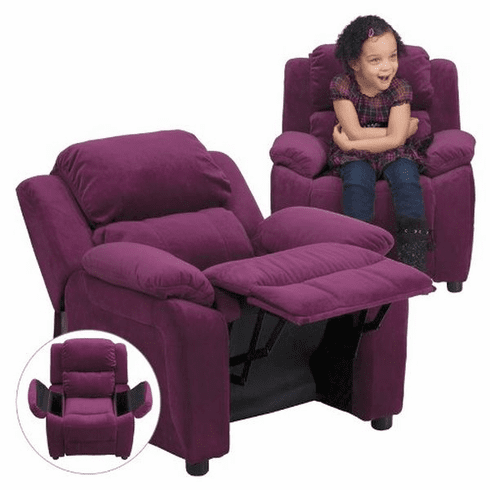 Flash Furniture Deluxe Heavily Padded Contemporary Purple Microfiber Kids Recliner with Storage Arms Model BT-7985-KID-MIC-PUR-GG
