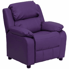 Flash Furniture Deluxe Heavily Padded Contemporary Purple Vinyl Kids Recliner with Storage Arms Model BT-7985-KID-PUR-GG