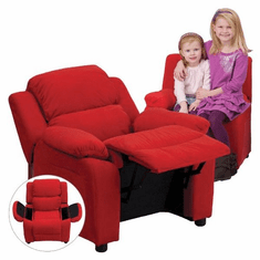 Flash Furniture Deluxe Heavily Padded Contemporary Red Microfiber Kids Recliner with Storage Arms Model BT-7985-KID-MIC-RED-GG