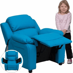 Flash Furniture Deluxe Heavily Padded Contemporary Turquoise Vinyl Kids Recliner with Storage Arms Model BT-7985-KID-TURQ-GG