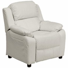 Flash Furniture Deluxe Heavily Padded Contemporary White Vinyl Kids Recliner with Storage Arms Model BT-7985-KID-WHITE-GG