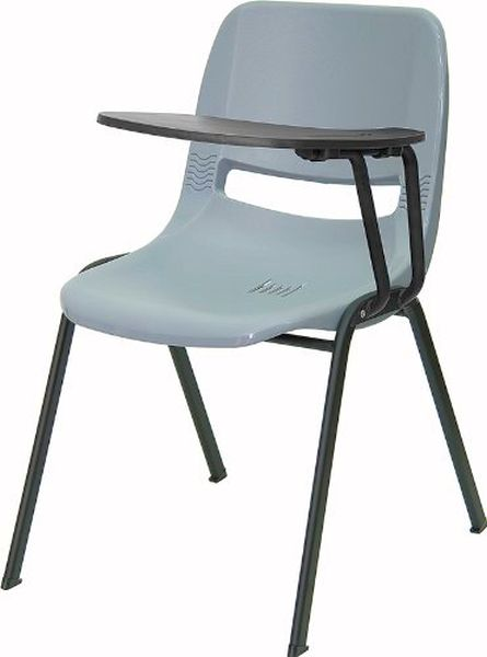 Flash Furniture Gray Ergonomic Shell Chair W Arm Rut Eo1 Gy Ltab Gg