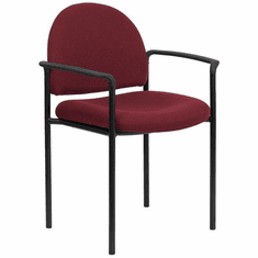 Flash Furniture Gray Fabric Comfortable Stackable Steel Side Chair with Arms Model BT-516-1-BY-GG