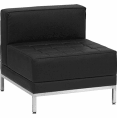 Flash Furniture HERCULES Imagination Series Contemporary Black Leather Right Corner Chair with Encasing Frame Model ZB-IMAG-MIDDLE-GG