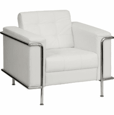 Flash Furniture HERCULES Patrician Series White Leather Reception Chair Model ZB-LESLEY-8090-SET-WH-GG