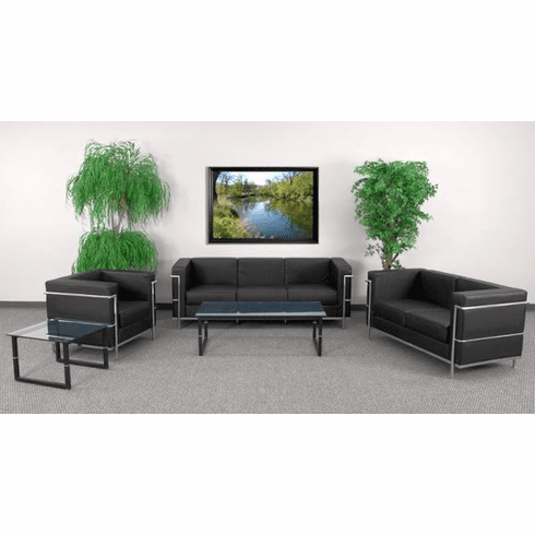Flash Furniture HERCULES Regal Series Reception Set in Black Model ZB-REGAL-810-SET-BK-GG