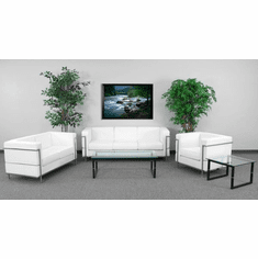 Flash Furniture HERCULES Roman Series White Leather Reception Chair Model ZB-REGAL-810-SET-WH-GG