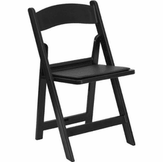 Flash Furniture HERCULES Series 1000 lb. Capacity Black Resin Folding Chair with Black Vinyl Padded Seat Model LE-L-1-BLACK-GG