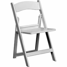 Flash Furniture HERCULES Series 1000 lb. Capacity White Resin Folding Chair with White Vinyl Padded Seat Model LE-L-1-WHITE-GG