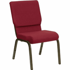 Flash Furniture HERCULES Series 18.5''W Burgundy Fabric Stacking Church Chair with 4.25'' Thick Seat - Gold Vein Frame Model XU-CH-60096-BY-GG