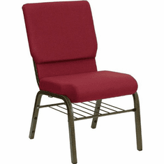 Flash Furniture HERCULES Series 18.5''W Burgundy Patterned Fabric Church Chair with 4.25'' Thick Seat, Book Rack - Gold Vein Frame Model XU-CH-60096-BYXY56-BAS-GG