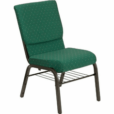 Flash Furniture HERCULES Series 18.5''W Green Patterned Fabric Church Chair with 4.25'' Thick Seat, Book Rack - Gold Vein Frame Model XU-CH-60096-GN-BAS-GG