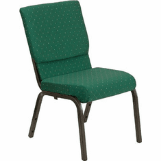 Flash Furniture HERCULES Series 18.5''W Green Patterned Fabric Stacking Church Chair with 4.25'' Thick Seat - Gold Vein Frame Model XU-CH-60096-GN-GG