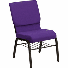 Flash Furniture HERCULES Series 18.5''W Purple Fabric Church Chair with 4.25'' Thick Seat, Book Rack - Gold Vein Frame Model XU-CH-60096-PU-BAS-GG
