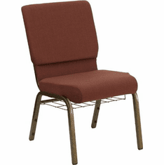 Flash Furniture HERCULES Series 18.5'' Wide Brown Fabric Church Chair with 4.25'' Thick Seat, Communion Cup Book Rack - Gold Vein Frame Model FD-CH02185-GV-10355-BAS-GG