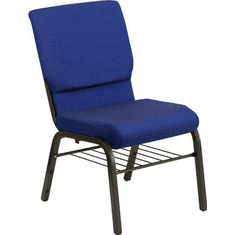 Flash Furniture HERCULES Series 18.5'' Wide Navy Blue Patterned Fabric Church Chair with 4.25'' Thick Seat, Book Rack - Gold Vein Frame Model XU-CH-60096-NVY-DOT-BAS-GG